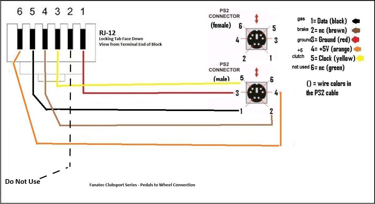 Male    RJ11 pedal    wiring       diagram     Fanatec  InsideSimRacing