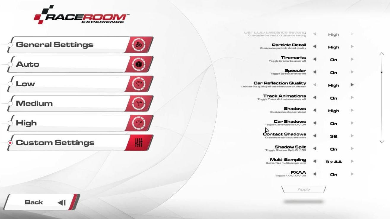 RaceRoom Graphic Settings