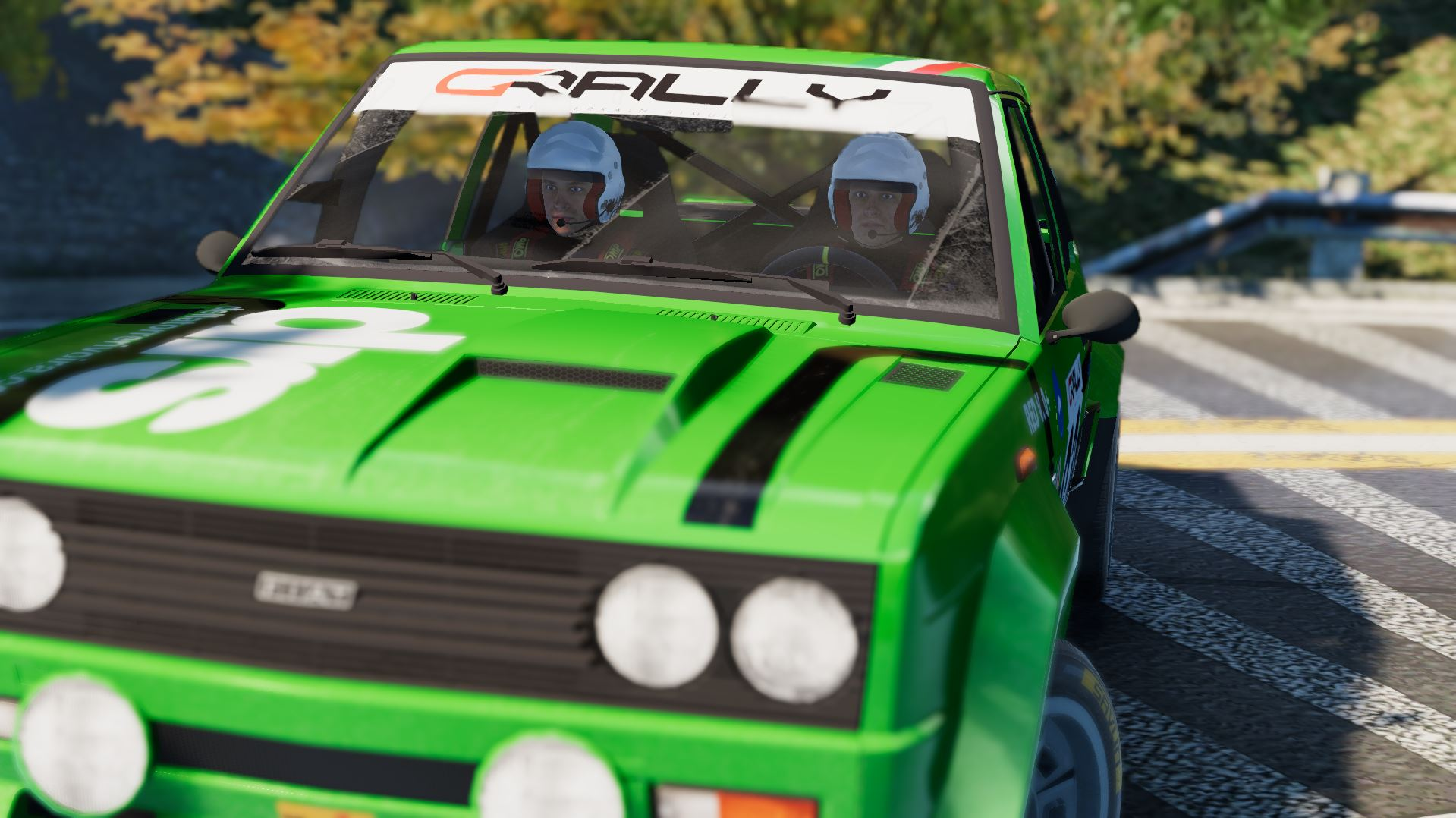 gRally green car close