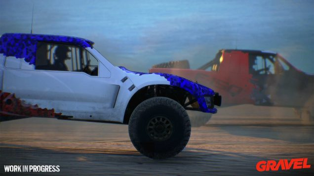 Gravel wip trophy truck beach close up side
