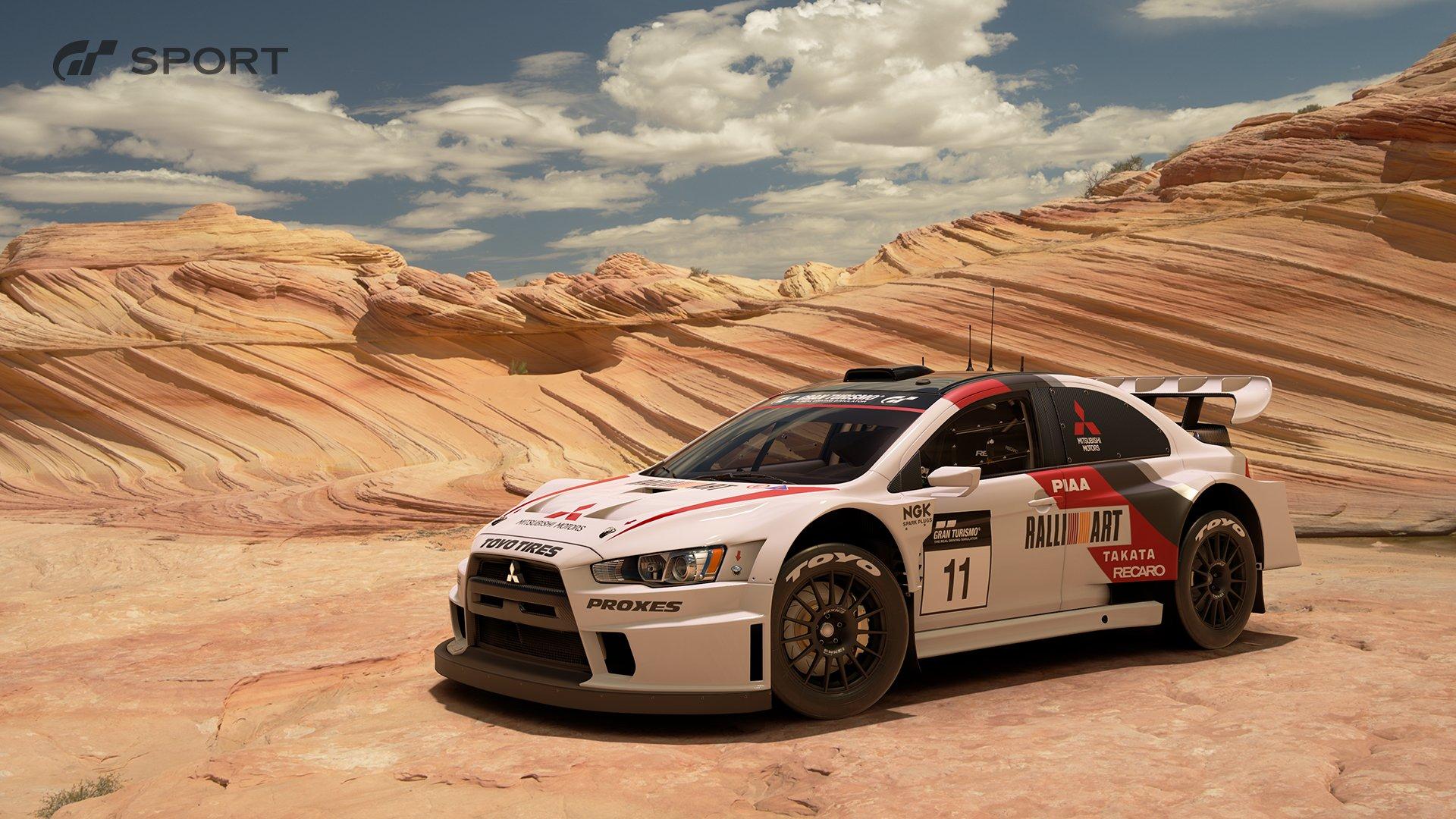 Gran Turismo Sport Mitsubishi Lancer Evolution Final Edition Gr B rally car exterior 1