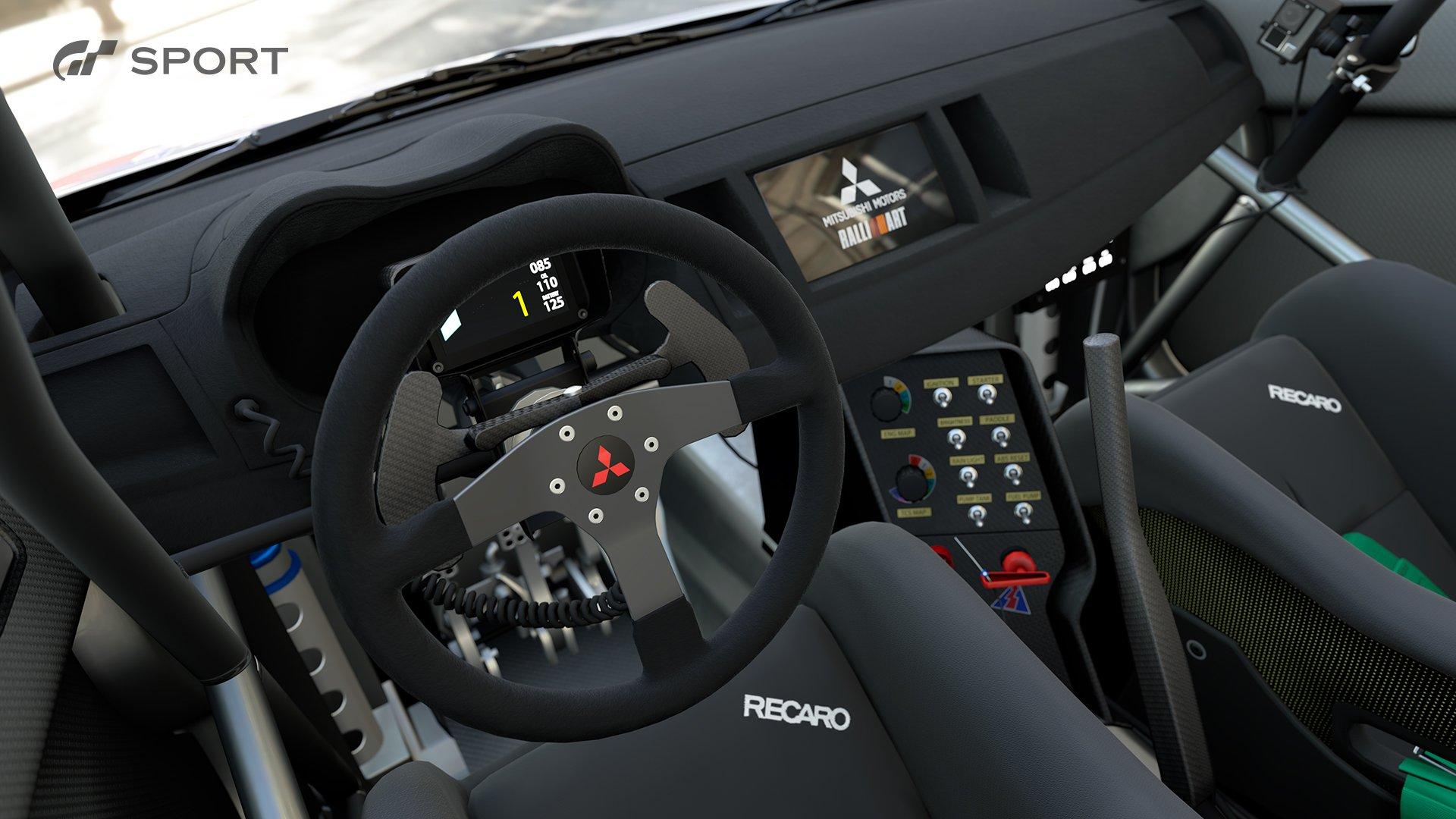 Gran Turismo Sport Mitsubishi Lancer Evolution Final Edition Gr B rally car interior 1