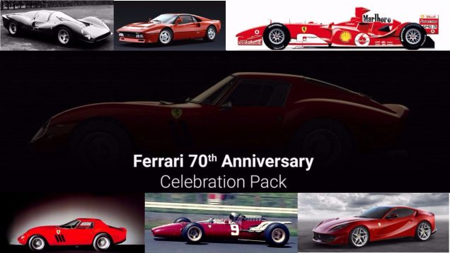 Assetto Corsa Ferrari 70th Anniversary Celebration Pack six cars