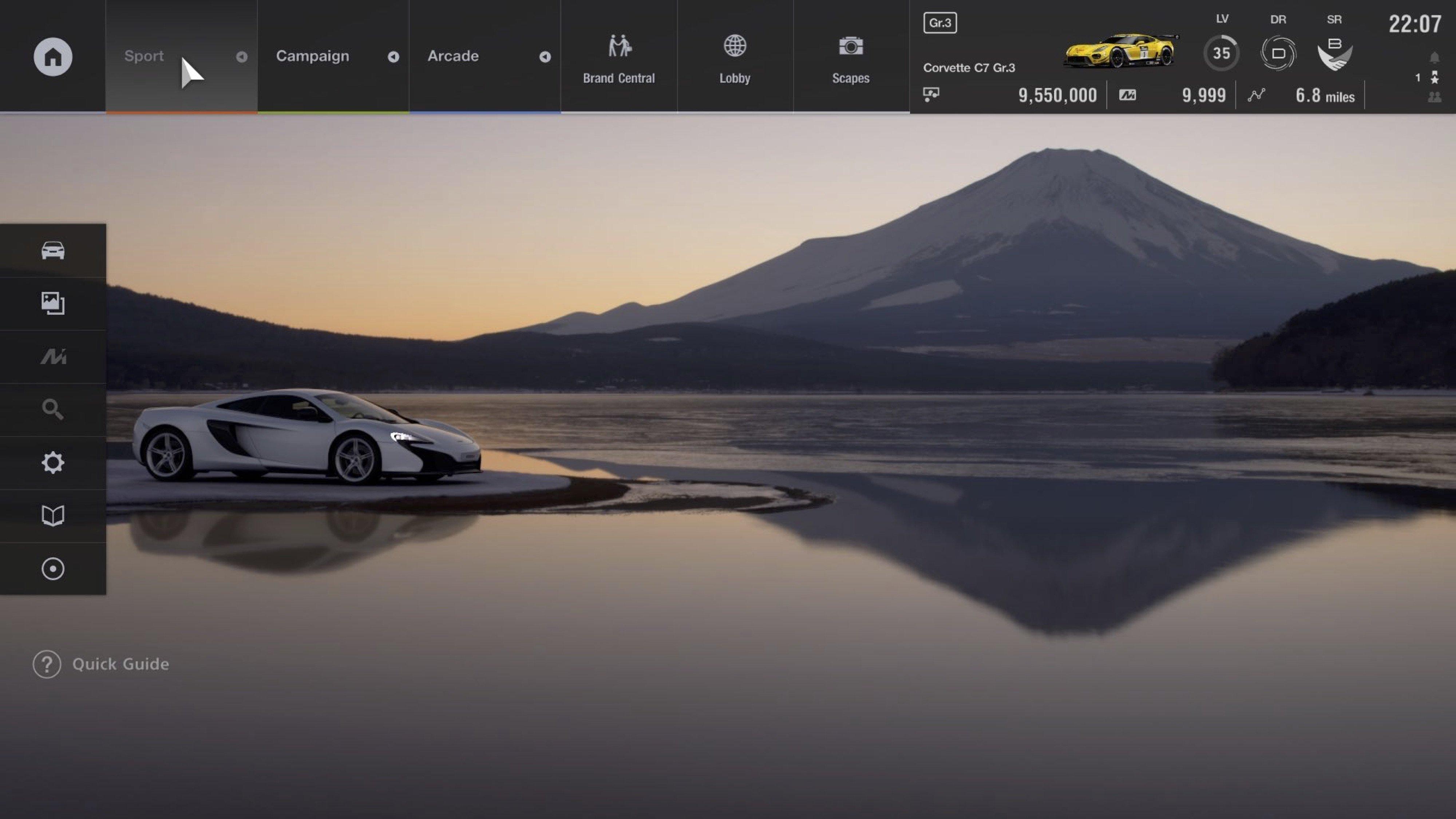 Gran Turismo Sport menu