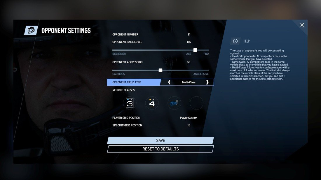 Project CARS 2 Opponent Settings