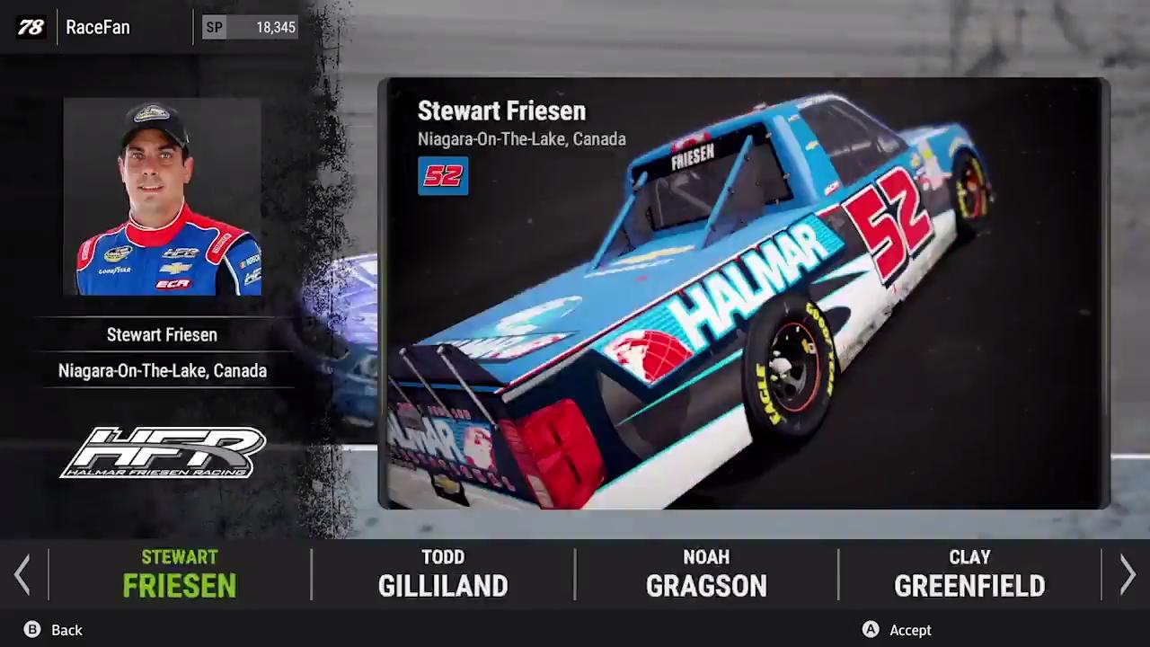 NASCAR Heat 2 driver selection menu screenshot