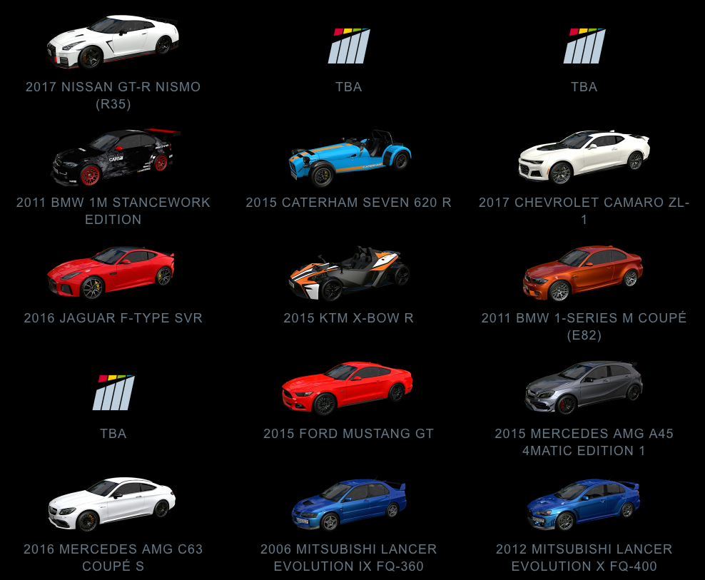 Project CARS 2 Road Cars July 2