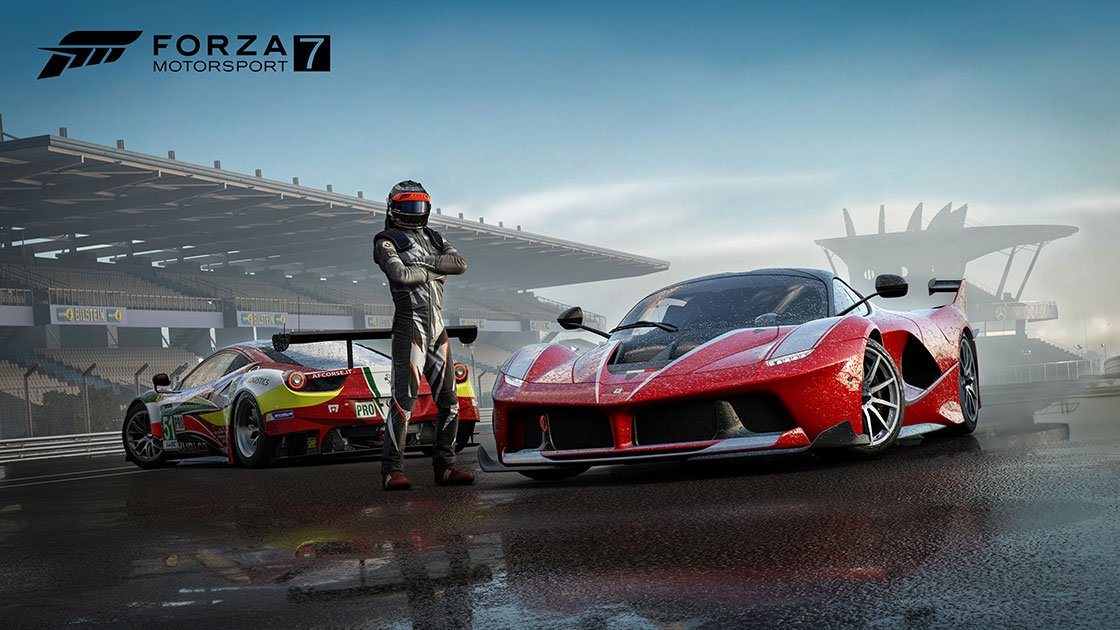 Forza Motorsport 7 two Ferraris and a driver
