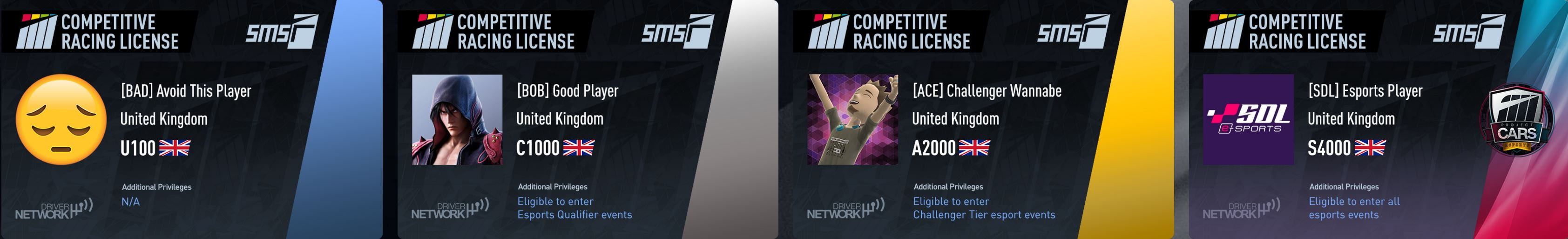 Project CARS 2 competitive racing licenses examples