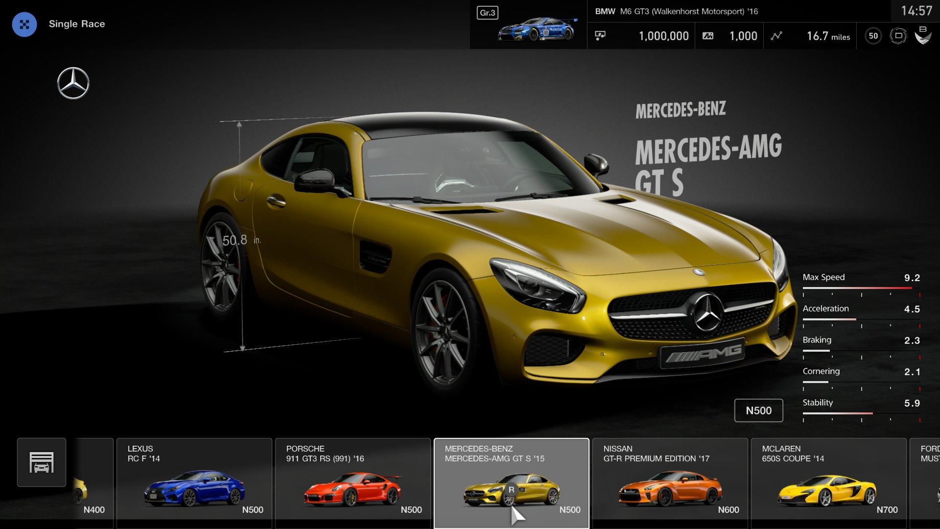 Gran Turismo Sport demo car selection menu