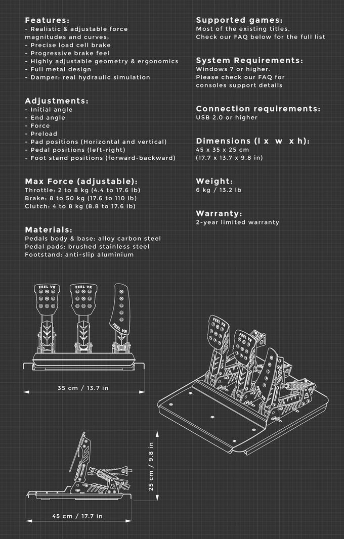 FeelVR pedal specs
