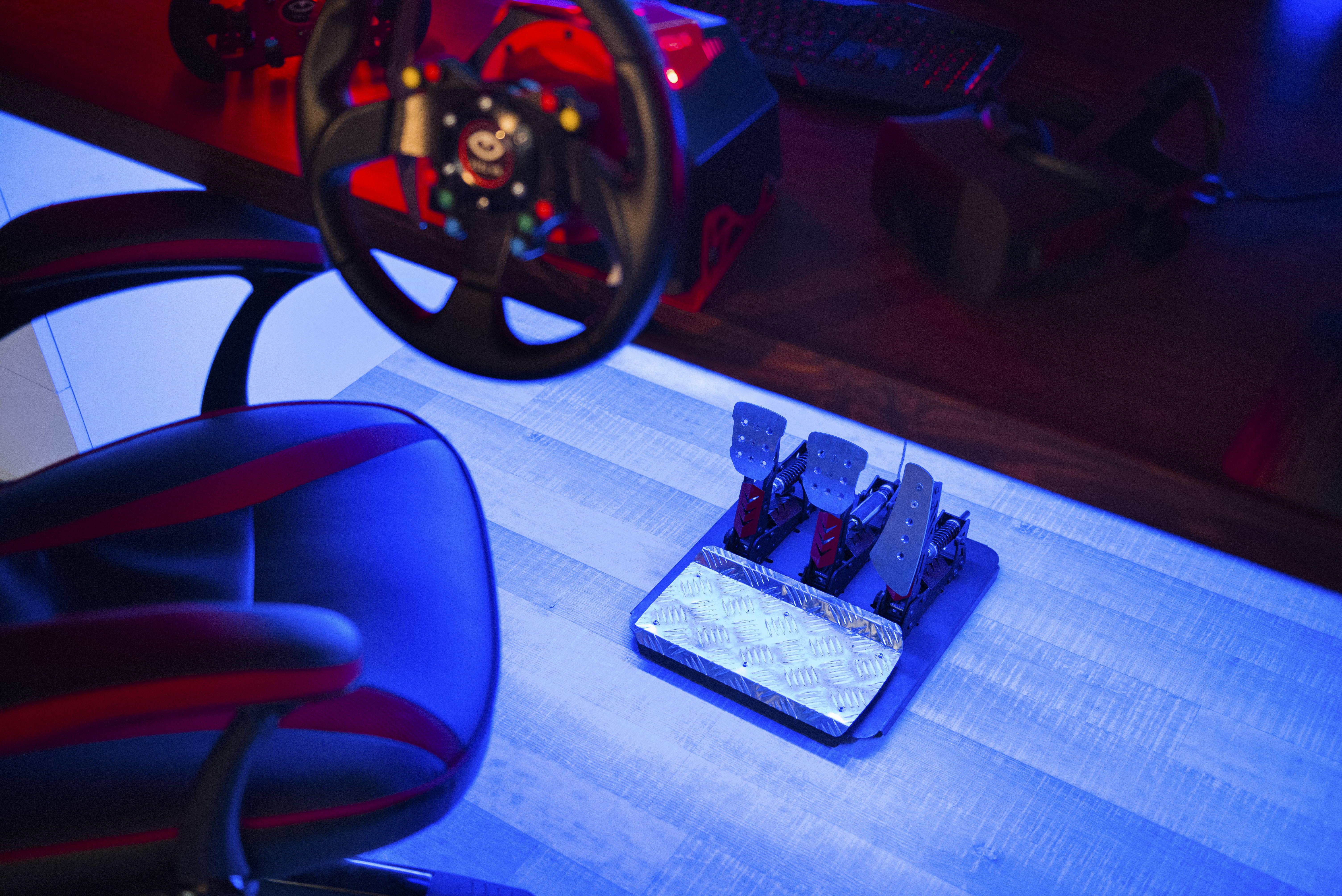 FeelVR pedals under desk