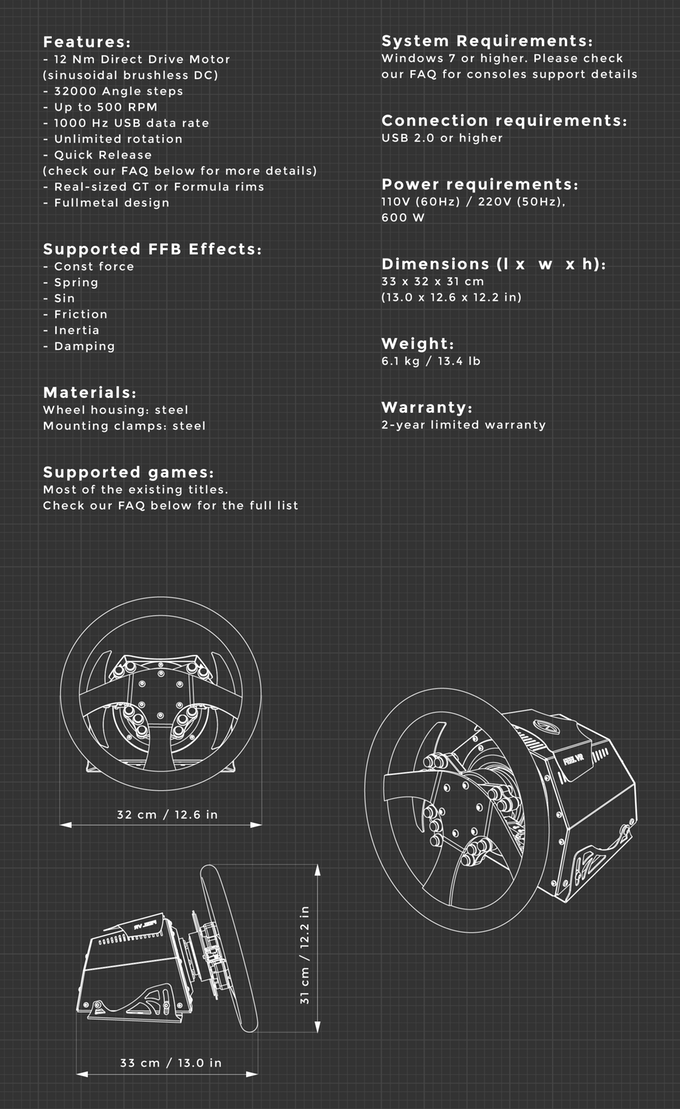 FeelVR wheel specs