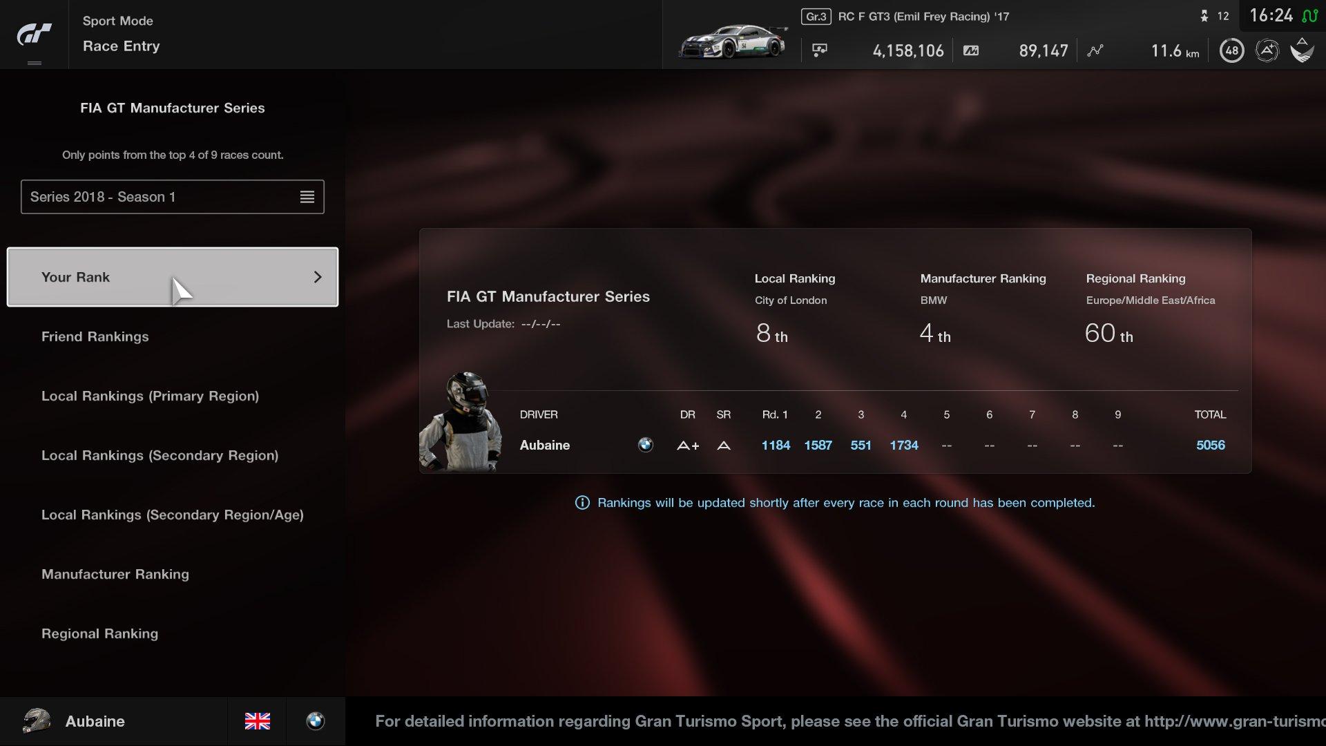 Gran Turismo Sport May update Sport mode local ranking