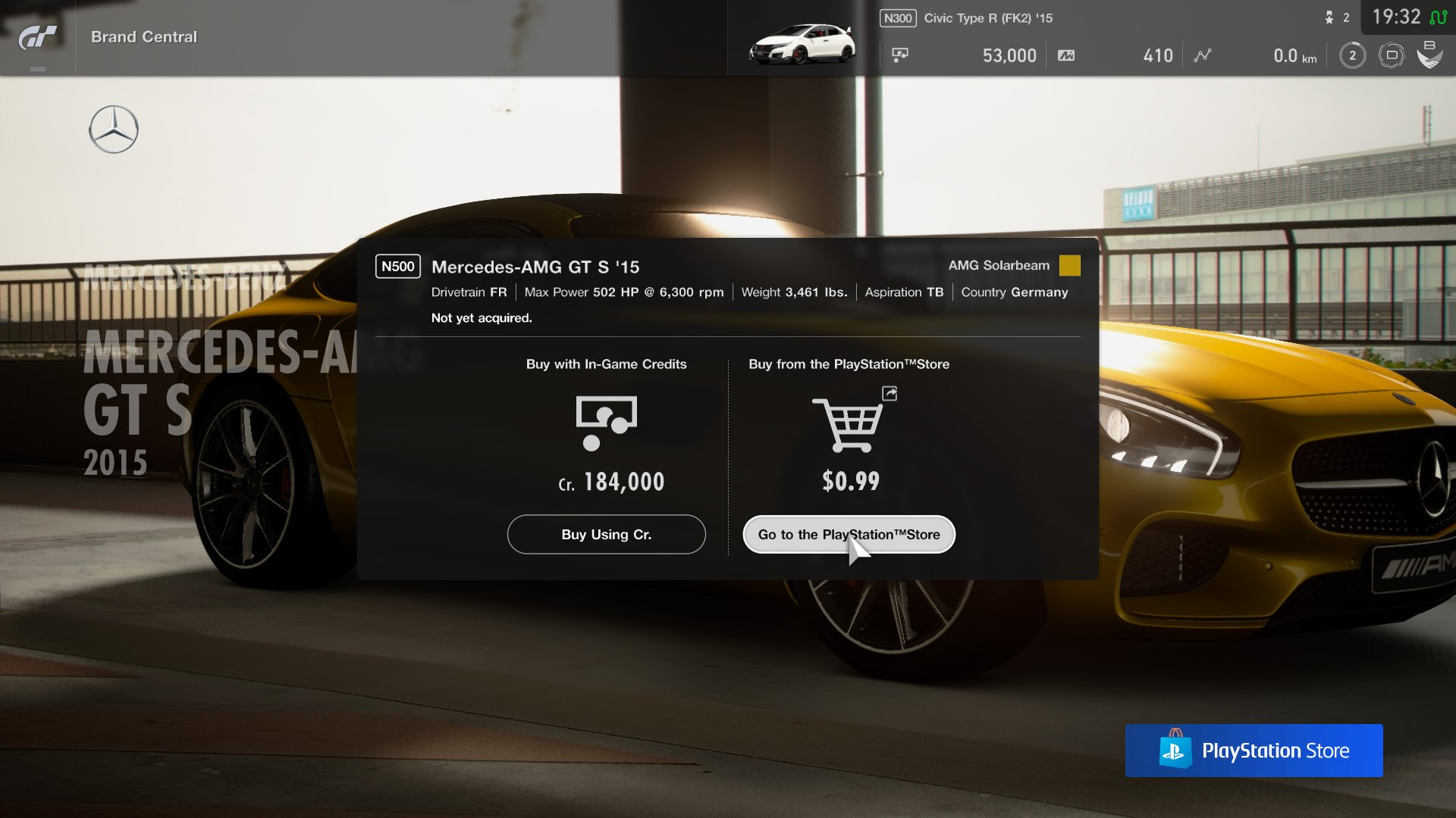 Gran Turismo Sport July update purchase cars through PlayStation store
